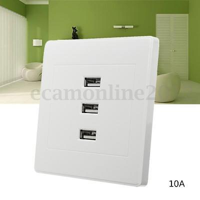 3 Ports USB 2.0 Wall Socket 3.1A Intelligent Charger Outlet Plate Panel 2 Screw