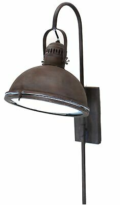 Bedside Light Fixture in Aged Bronze Brown Painted Industrial Style Dock Light