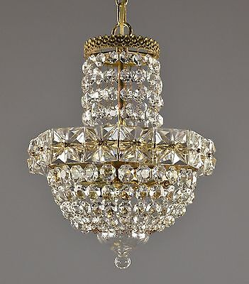 Czech Crystal & Brass Pendant Chandelier c1920 Antique Vintage Glass Ceiling Lig