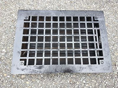Vintage VICTORIAN Cast Iron Floor Grille 13x10 Heat Grate Register with Louvers