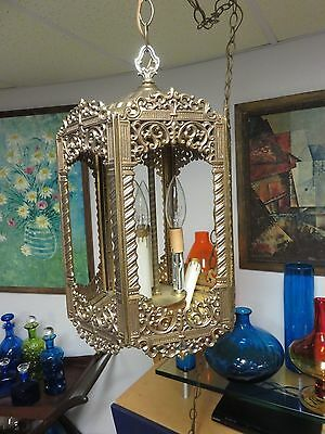 Vintage Hollywood Regency Glam Very Ornate Ceiling Light Chandelier Lamp w/Chain