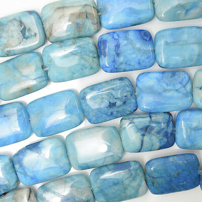 """18mm blue crazy lace agate rectangle beads 16"""" strand"""