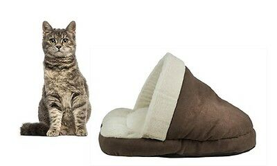 Brown Faux Suede Soft Comfy Fleece Lining Pet House Cat Bed Cats Beds Houses • EUR 14,12