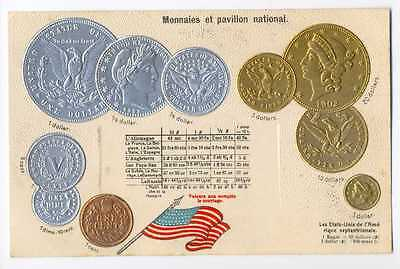 United States US Coins on German Ad Postcard ca 1906 RARE Mint Condition
