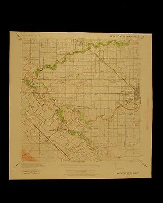 Modesto West California vintage 1960 original USGS Topographical chart