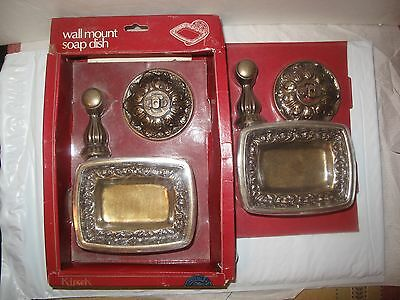 Two (2) Vintage Kirsch Brass Wall Mount Soap Dish BF-120 ~ RARE FIND ~