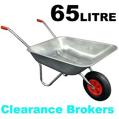 NEW Wheelbarrow 65L Garden Wheel Trolley Barrow Cart Trailer Galvanised Steel