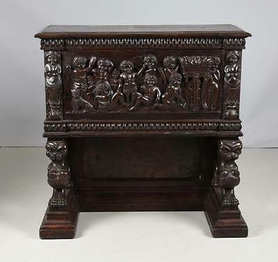 Antique Contintential Carved Drop Front Figural Carved Desk