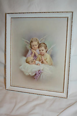Antique Frame with Print of Angels and Baby