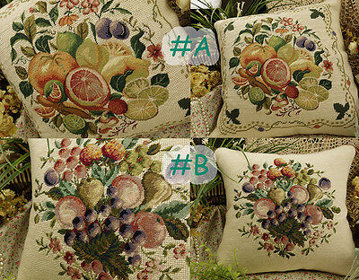 2 Designs French Country Fruit Needlepoint Pillow Orange Lemon Blue Berry,Cherry