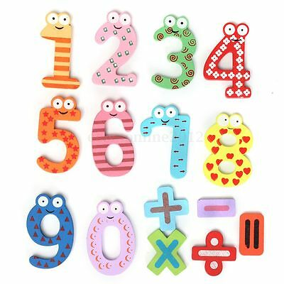 15Pcs Kids Education Wooden Numbers & Signs Stickers Fridge Magnet Toy Gift Xmas