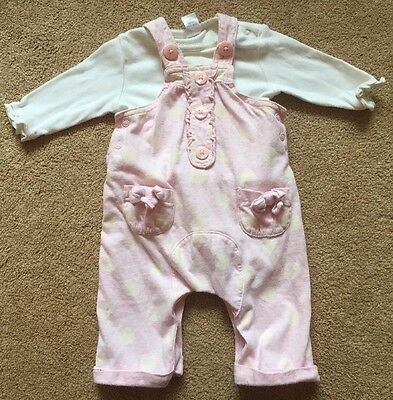 Baby Girls Next Spotty Dungaree & Top Set Outfit Pink & Cream Up To 3 Months