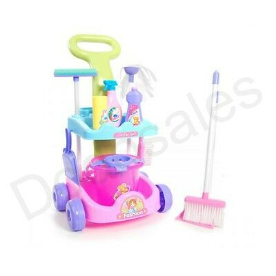 Kids Girl Pretend Cleaning Trolley Toy Help Mum Broom Bucket Mop Dustpan Toddler