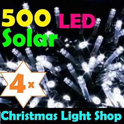 2000 Solar LED WHITE Flashing 4x 500 Fairy Christmas Garden Lights Outdoor 4x40m