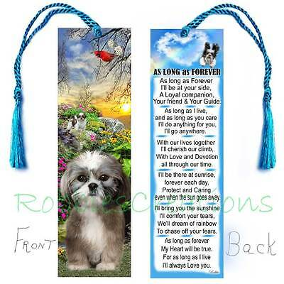 "SHIH-TZU BOOKMARK w/Tassel ""AS LONG AS FOREVER"" Art Dog Puppy Poem Perfect GIFT"