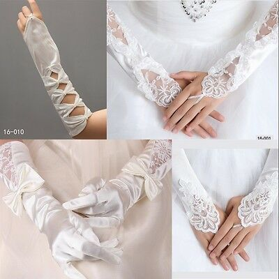 Long Fingerless Ivory/White Bridal Wedding Pearl Lace Gloves Jewelry