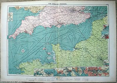 Large Original 1918 Chart of The English Channel by The London Geographical Inst