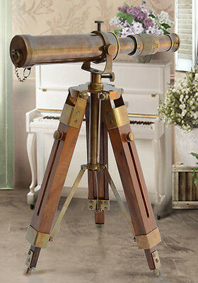 Vintage Telescope Reproduction Wooden Antique Spyglass Binocular Tripod Stand