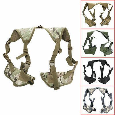 Military Tactical Under Arm Shoulder Double Pistol Gun Holster Mag Pouch New