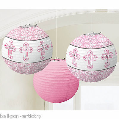 3 Elegant Pink Girl's 1st Holy Communion Party Paper Ball Lantern Decorations