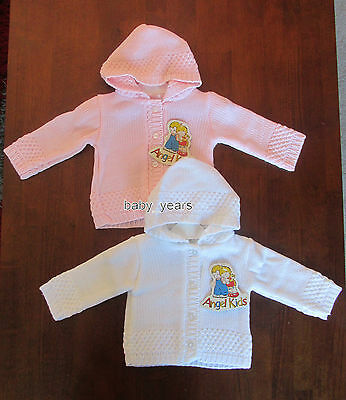 Baby Girls Knitted Hooded Cardigan White Pink Newborn 0-3 Months New