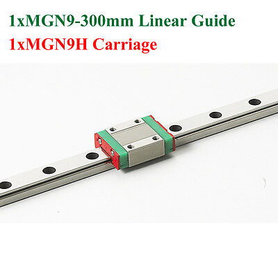 MR9 9mm Mini MGN9 Linear Guide 300mm Rail + MGN9H Linear Carriage CNC X Y Z Axis