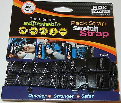 "ROK Straps Motorcycle Luggage Tie Down Adj Straps 12""-42"" x 5/8 Reflective Black"