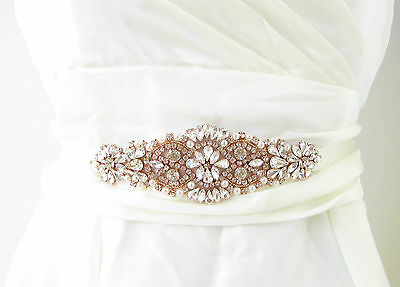 Rose Gold Ivory Silver Pearl Diamante Bridal Belt Wedding Sash Vintage Bead 491