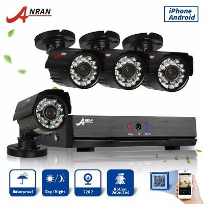 Anran HD 4CH AHD 720p CCTV Camera System Security 1080N IP66 HDMI DVR P2P