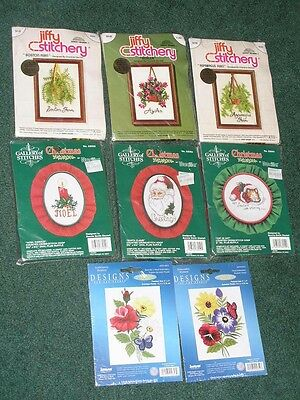 8 Unused Complete Small Embroidery Kits - Jiffy - Gallery - Janlynn