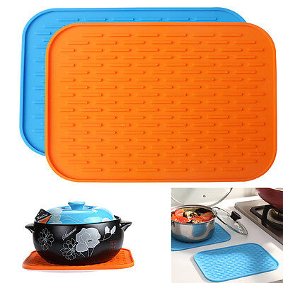 1pc Pot Holder Hot Pad Kitchen Mat Silicone Heat Resistant Trivets Pans Trays