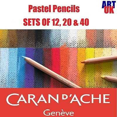 Caran d'Ache artists soft PASTEL PENCIL SETS of 12, 20 & 40 drawing sketching