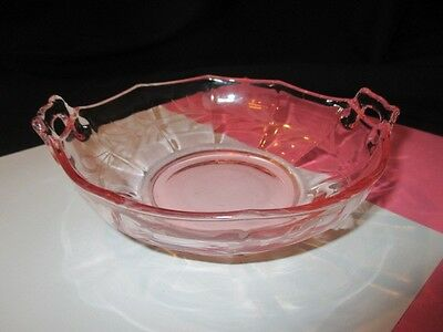 Cambridge Decagon Elegant Pink Depression Glass Handled Sauce Bowl Candy Dish