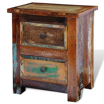 Reclaimed Solid Wood Bedside Cabinet with 2 Drawers Vintage Rustic Antique C2F6