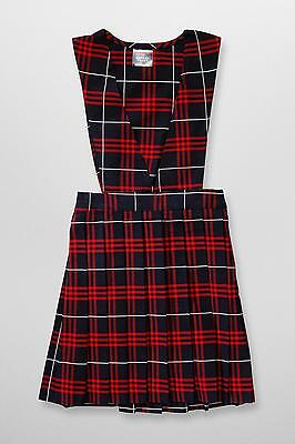 French Toast V-Neck Pleated Plaid Navy/Red Jumper Size 4-7