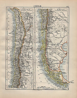 1902 Map ~ Chile ~ With Northern & Southern Portions ~ Argentina