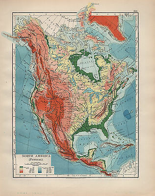 1902 Map ~ North America Physical Rocky Mountains Land Heights