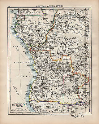 1902 Map ~ Central Africa West ~ With European Possessions Congo