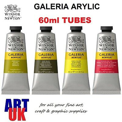 Winsor & Newton GALERIA Acrylic Colour 60ml Tube Artists Paint BUY 3 GET 1 FREE