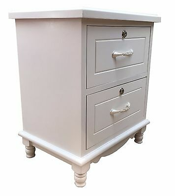 Bedside Table Night Stand Wood Cabinet Storage Home Furniture 2 Drawer White