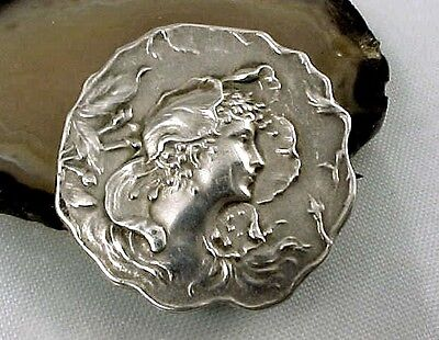 Antique ART NOUVEAU Sterling Silver UNGER BROS Brothers Lady Head Watch Pin
