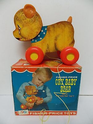 1967 Fisher Price Cry Baby Bear Pull Toy with Cry Sound in Original Box USA Made