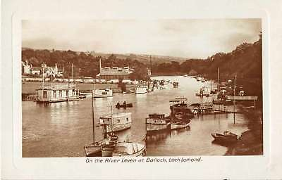 Loch Lomond Scotland Balloch River Leven Real Photo Antique Postcard J54849