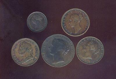 Nova Scotia, 5 Different Better Early Coppers, 1832-1864, Free USA Shipping