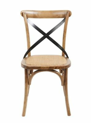 Pair of Cane Seat Chairs With Bent Farmhouse Wood and Criss Cross Back