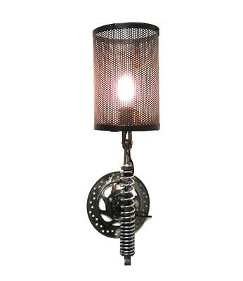 Wall Mount Motorcycle Clutch Spring Sconce Light Fixture Antique Parts Steampunk