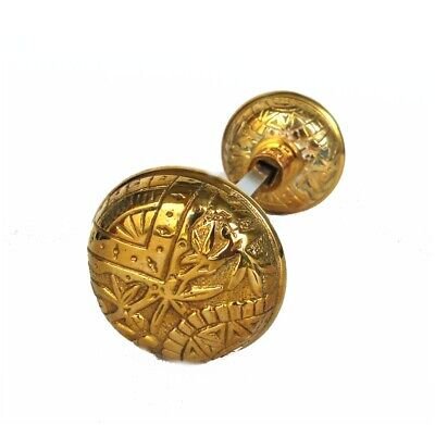 Vintage Brass Leaf Victorian or Arts and Crafts Style Door Knob Pair
