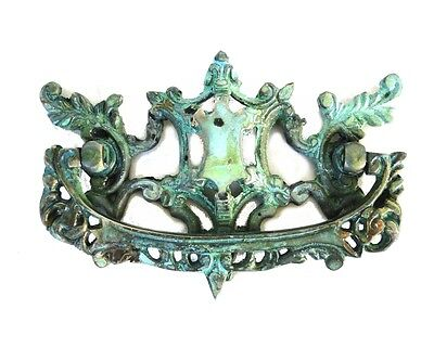 Victorian or Chippendale Dresser Pull Solid Brass Vintage Tiffany Green Hardware
