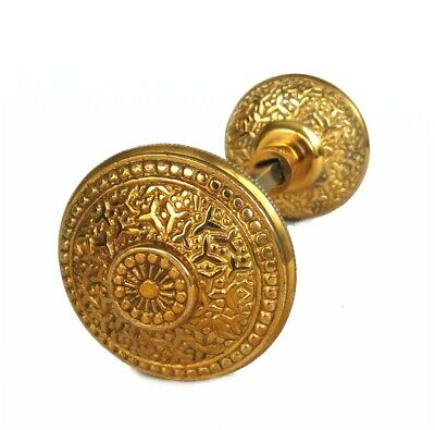 Vintage Brass Beaded Rice Victorian Arts and Crafts Style Door Knob Pair Design
