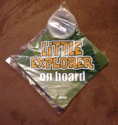 "JEEP Window Cling Suction Car Sign ""little Explorer On Board"" Baby On Board"